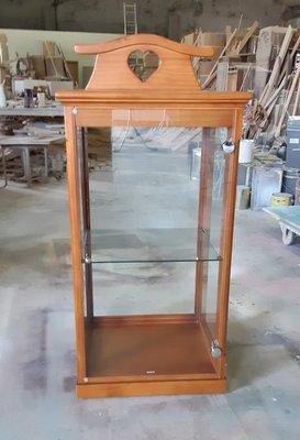 美生活館  鄉村全紐松 柚木色 四面玻璃 單門 展示櫃 收納櫃 玻璃櫃 家具訂製 客製化 可修改尺寸