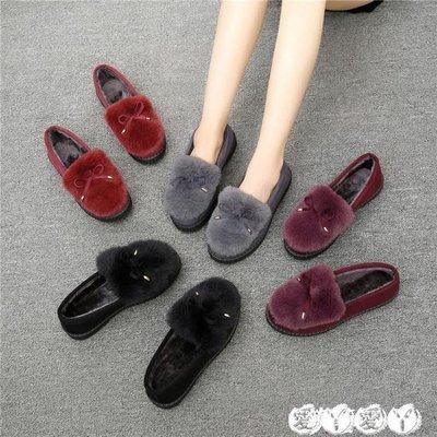 豆豆鞋 冬季韓版豆豆鞋女加絨棉鞋女厚底平底休閒學生鞋保暖毛毛鞋女