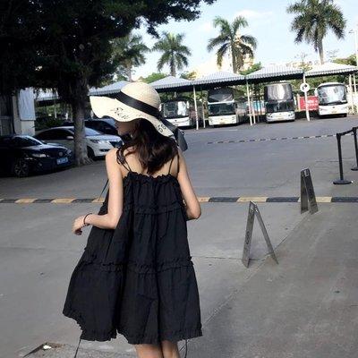 半島鐵盒 韓國chic可愛木耳邊小黑裙寬鬆繫帶娃娃裙度假抹胸吊帶洋裝女