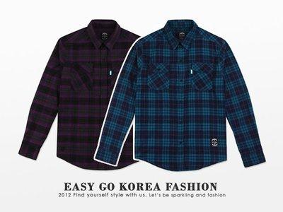 【Easy GO 韓國潮牌代購】STIGMA - 街頭潮流格紋長袖襯衫  M號 (現貨)