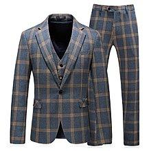 【型男風尚】AZ0204*S-5XL 西服套裝 三件套 大碼 禮服 格子時尚 優質面料 2色