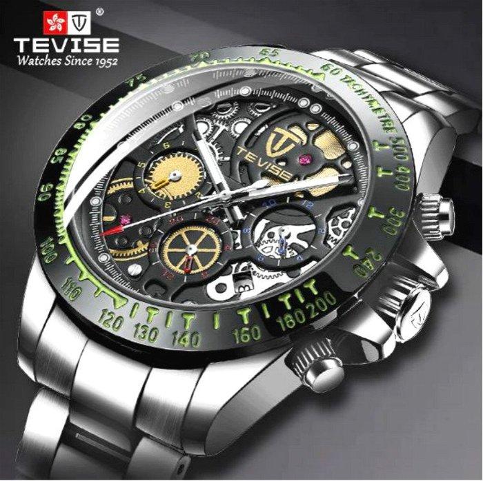 新款 TEVIES 特威斯 正品 真三眼機械齒輪刻紋面版大錶面 夜光 全自動機械錶 時尚型男手錶【S & C】