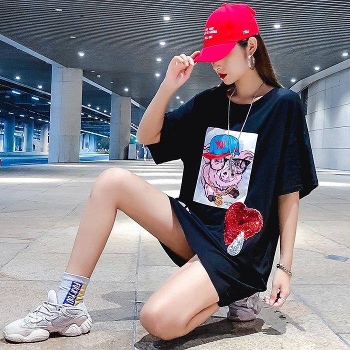 FINDSENSE G6 韓國時尚潮流 大尺碼短T女裝上衣純棉短袖T恤2019新款夏裝港風半袖寬鬆上衣圓領T恤
