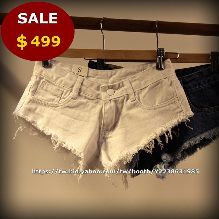 Buy Me 超低腰短褲來啦 超短 超性感露大腿牛仔熱褲 短褲 S-L 兩色