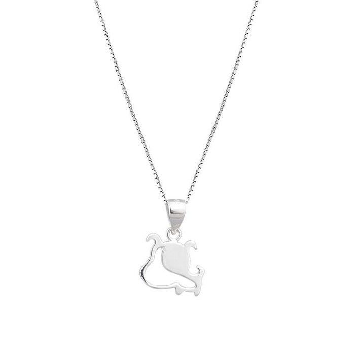 【巷南】925純銀小清新線條小狗項鏈可愛本命年生肖鎖骨鏈禮物女 尚美優品