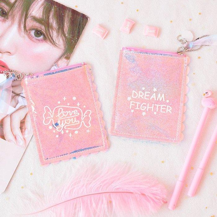 MY#爆款#日系原宿風少女心創意珍珠鐳射小錢包便攜手拿零錢包短款方形錢夾