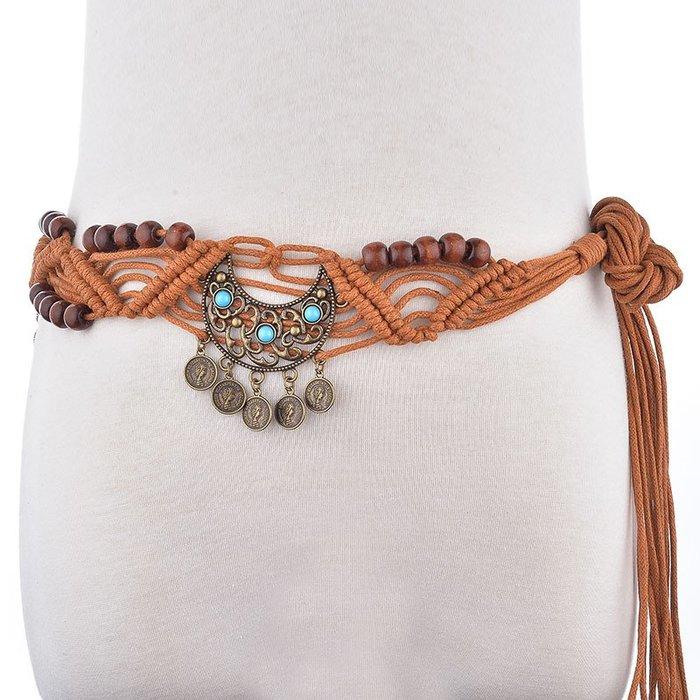 復古 編織 波西米亞 串珠 裝飾 鏤空 腰封 寬版 腰帶 【ZM8051】