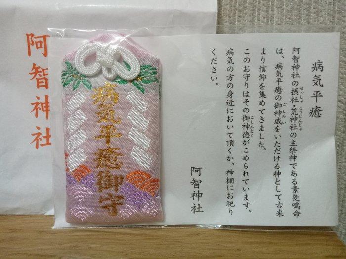 天使熊雜貨小舖~日本帶回阿智神社 病氣平癒御守   全新現貨