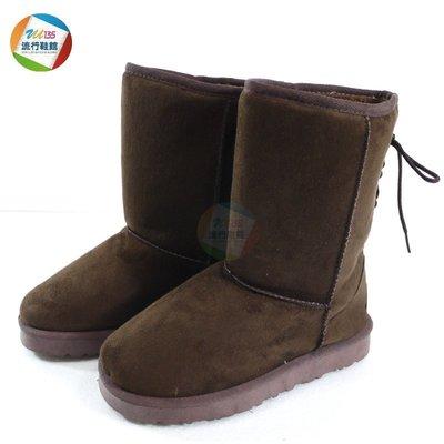 【Z.U SHOES】女鞋/雪靴~後綁帶蝴蝶結造型 百搭保暖刷毛雪靴 ~咖啡色~