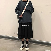 ✿Lu girl 自制日系工裝多片式褲裙女學生復古法式小眾山本耀司赫本風半身裙JU19