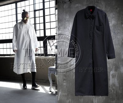 《TINO HOMME》2018春夏新款歐美非主流OVERSIZE加長版側開叉寬鬆長袖襯衫加大尺碼7XL訂做款