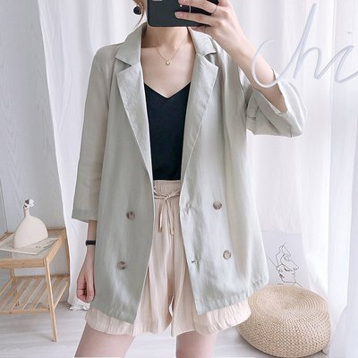 韓國薄款雙排扣天絲休閒防曬百搭西裝外套