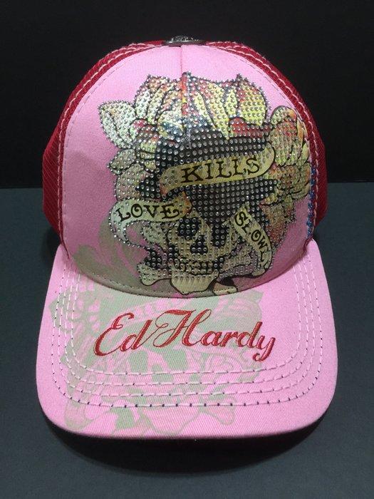Ed Hardy 帽 現貨 愛殺 水鑽 骷髏頭 稀有粉色  潮帽 卡車帽 老帽