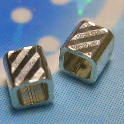 琥珀貓~【925純銀材料配件】方珠~N8956款~斜紋~2mm~一組6顆