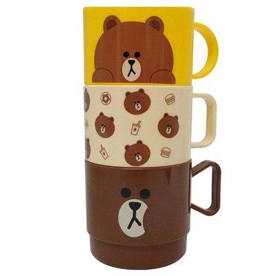 韓寶☆【LINE Friends 】杯子三件組 / 塑膠杯 水杯 漱口杯 / 熊大 兔兔 莎莉 [LF0102]