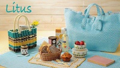 日本進口 編織野餐墊+大包包 一組不拆賣的喔!!*^^* 二色各只有一組