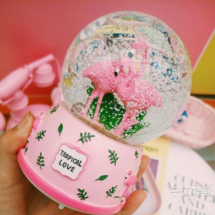 韓版學生少女心可愛粉嫩飄雪水晶球旋轉帶燈八音盒房間裝飾禮
