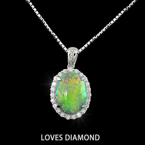 【LOVES鑽石批發】進口精品款-《綠蹤瑰寶》蛋白石設計款18K金墬子-另售GIA項 鍊  彩鑽 LOVES DIAMOND
