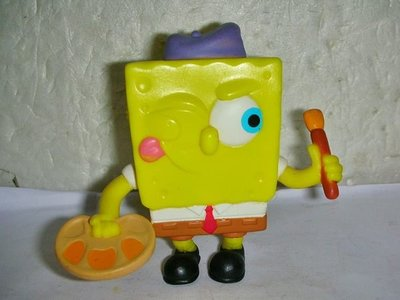 A.(企業寶寶玩偶娃娃)近全新2012年麥當勞發行畫家海綿寶寶造型公仔!--值得收藏!