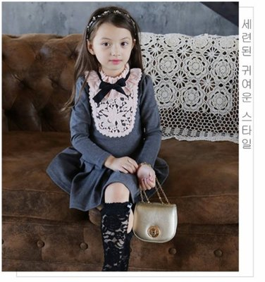 艾町Eyeing Shop 新款上市 韓版淑女貴族風蕾絲領加刷毛加厚連身百折裙 過年新衣 宴會服 表演服