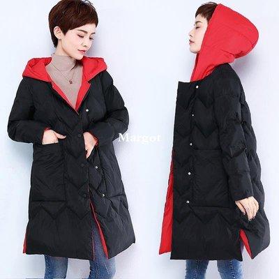 [Margot]2018冬裝新款棉衣女 中長款大碼媽媽裝中年女士加厚黑色顯瘦外套