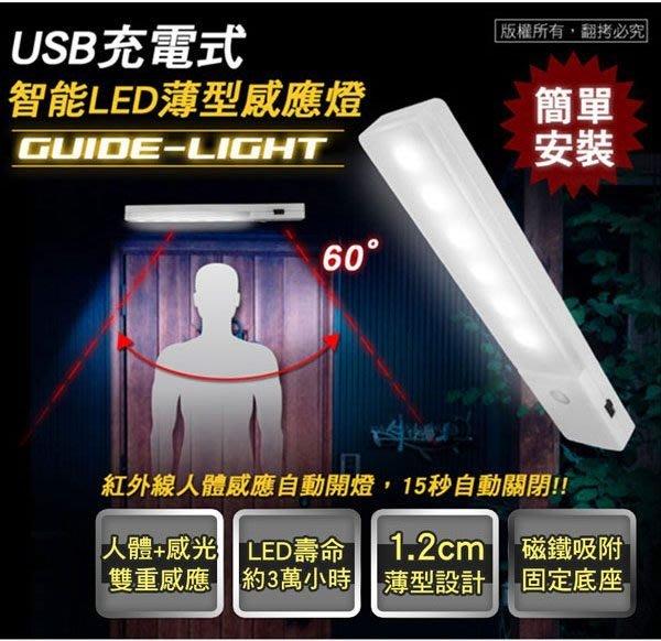 ~協明~ USB充電式 智能LED薄型人體感應照明燈