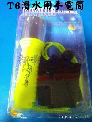 翱翔雁子【現貨】T6 潛水手電筒 使用18650鋰電池 60米防水 高亮度 旋轉開關 H053