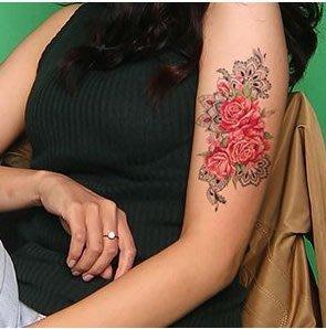 【萌古屋】紅色圖騰花朵 - 男女防水紋身貼紙刺青貼紙AQ-018 K19