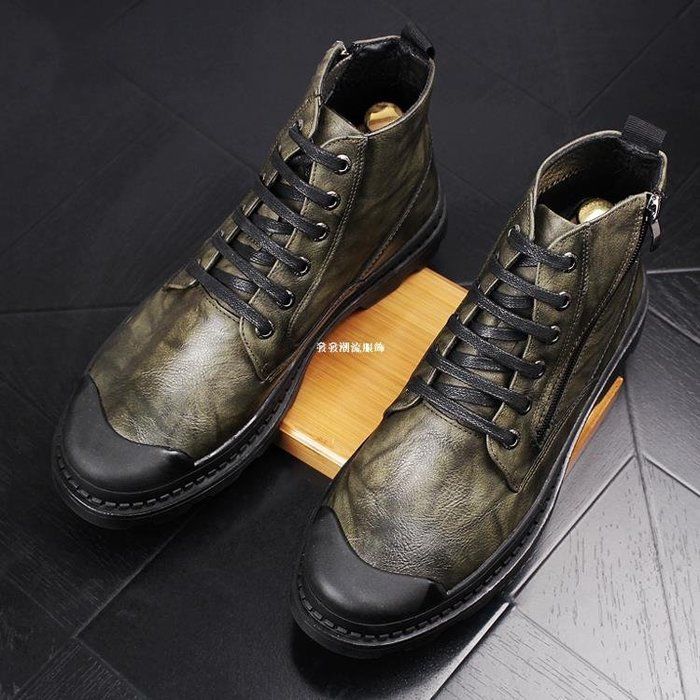 發發潮流服飾英倫馬丁靴男士高幫鞋真皮厚底男短靴復古中幫皮靴休閒工裝靴男靴