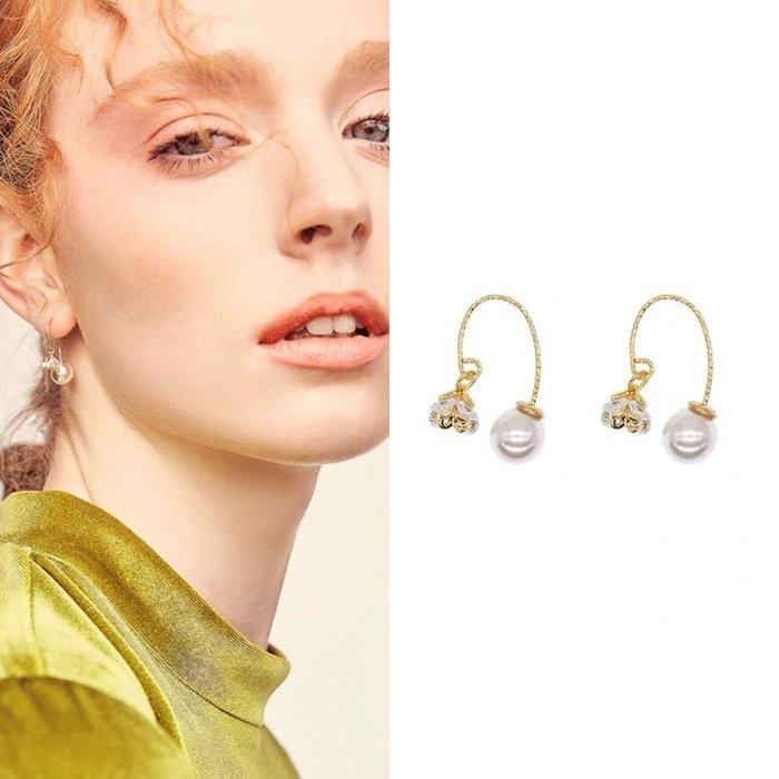 💎22、超百搭氣質水晶花朵珍珠吊墜耳環💎