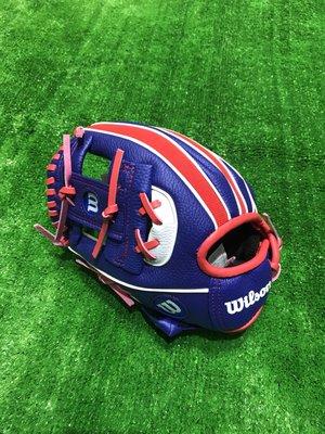 棒球世界全新Wilson國小用棒球手套 特價 10吋特價藍白紅配色反手用