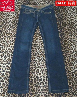 Tough Jeansmith 牛仔褲 小直筒 個性皮款-女款-26號-刷色藍【JK嚴選】LV 鬼怪