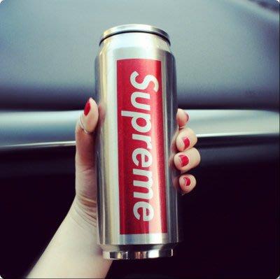 Supreme罐不銹鋼保溫杯學生水杯時尚吸管杯子易拉罐杯子