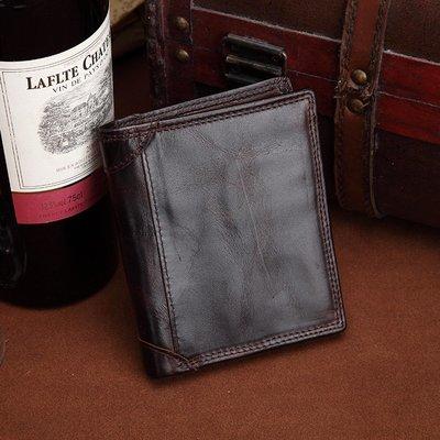 [包妳喜歡]新款真皮短款錢包歐美復古男...