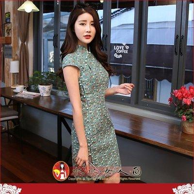 【水水女人國】~綠意深呼吸 清新旗袍風~綠珠。復古棉麻小碎印花月牙袖時尚改良短旗袍
