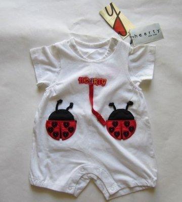專櫃童裝[hearty] 女童棉質白色瓢蟲造型連身衣.T恤(編號0556-1)~9M(75CM)