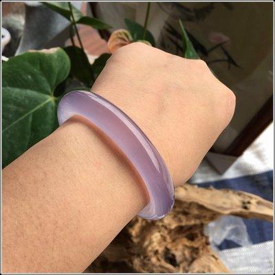 仙記銀坊精品冰種巴西純天然紫玉髓圓條手鐲 正品瑪瑙紫羅蘭圓條玉鐲女