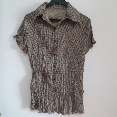 BEAR HOUSE 小格紋圖樣 抓皺  排釦襯衫樣式上衣