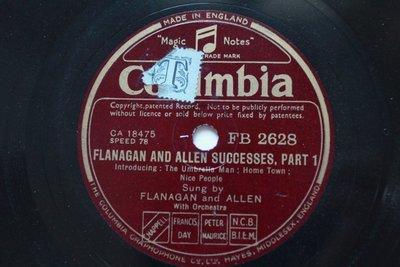 Flanagan And Allen successes 78轉 蟲膠唱片 電木唱片