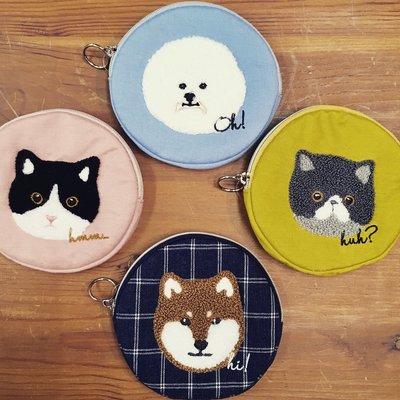 乾媽店。日本 棉麻 刺繡 比熊 柴犬 貓咪 小錢包  零錢包 小化妝包 收納包 質感 細緻