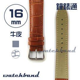 【鐘錶通】C1.21AA《霧面系列》鱷魚格紋-16mm 霧面棕┝手錶錶帶/皮帶/牛皮錶帶┥