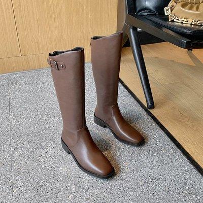 真皮長靴 DANDT 時尚真皮釦帶騎士長靴(20 OCT B62827)同風格請在賣場搜尋 BLU 或 歐美女鞋