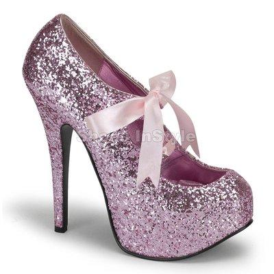 Shoes InStyle《五吋》美國品牌 BORDELLO 原廠正品金蔥厚底瑪麗珍包鞋 有大尺碼『粉紅色』