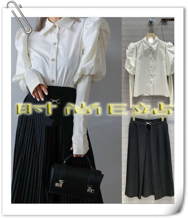 高端版【~SSEZ~】908100650 原單泡泡袖多種穿法金屬扣襯衫+半裙套裝  S M L==可單售