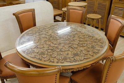 【米蘭柚木傢俱】[出清價]全柚木法式玫瑰雕刻系列 - 圓餐桌椅組[6+1]