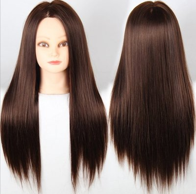 【NF182練習用假髮帶人頭】化纖高溫絲編發假髮頭模假髮練習頭美髮盤發模特頭化妝假人頭 NFO