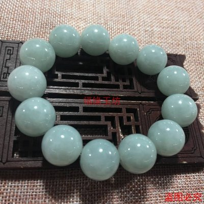 小琳的賣場正品緬甸老坑天然翡翠手鍊男款手串 18mm珠子淡綠色玉石A貨手鍊