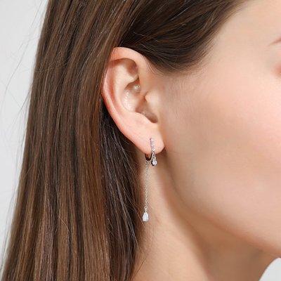 珠寶首飾正品~925銀螺旋無痛耳夾長款無耳洞耳環耳飾冷淡風簡約小巧高級感法式