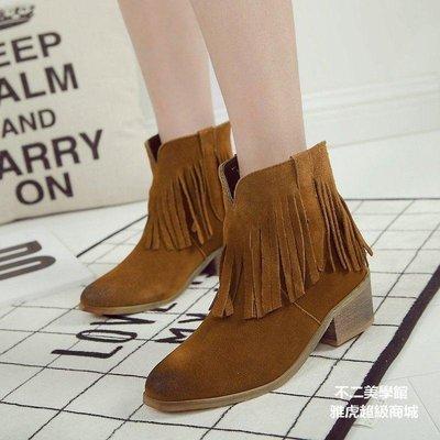 【格倫雅】歐洲站秋靴子真皮粗跟短靴女卡其色磨砂駝色高跟流蘇短靴11818[g-l-y32