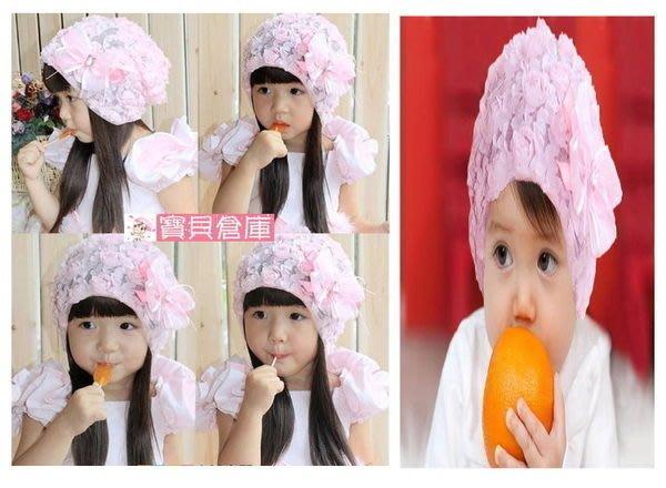 寶貝倉庫~韓版~嬰兒童女寶寶帽子~蕾絲花朵帽~兒童套頭~蕾絲公主帽~童帽~拍照必備~紫色可選